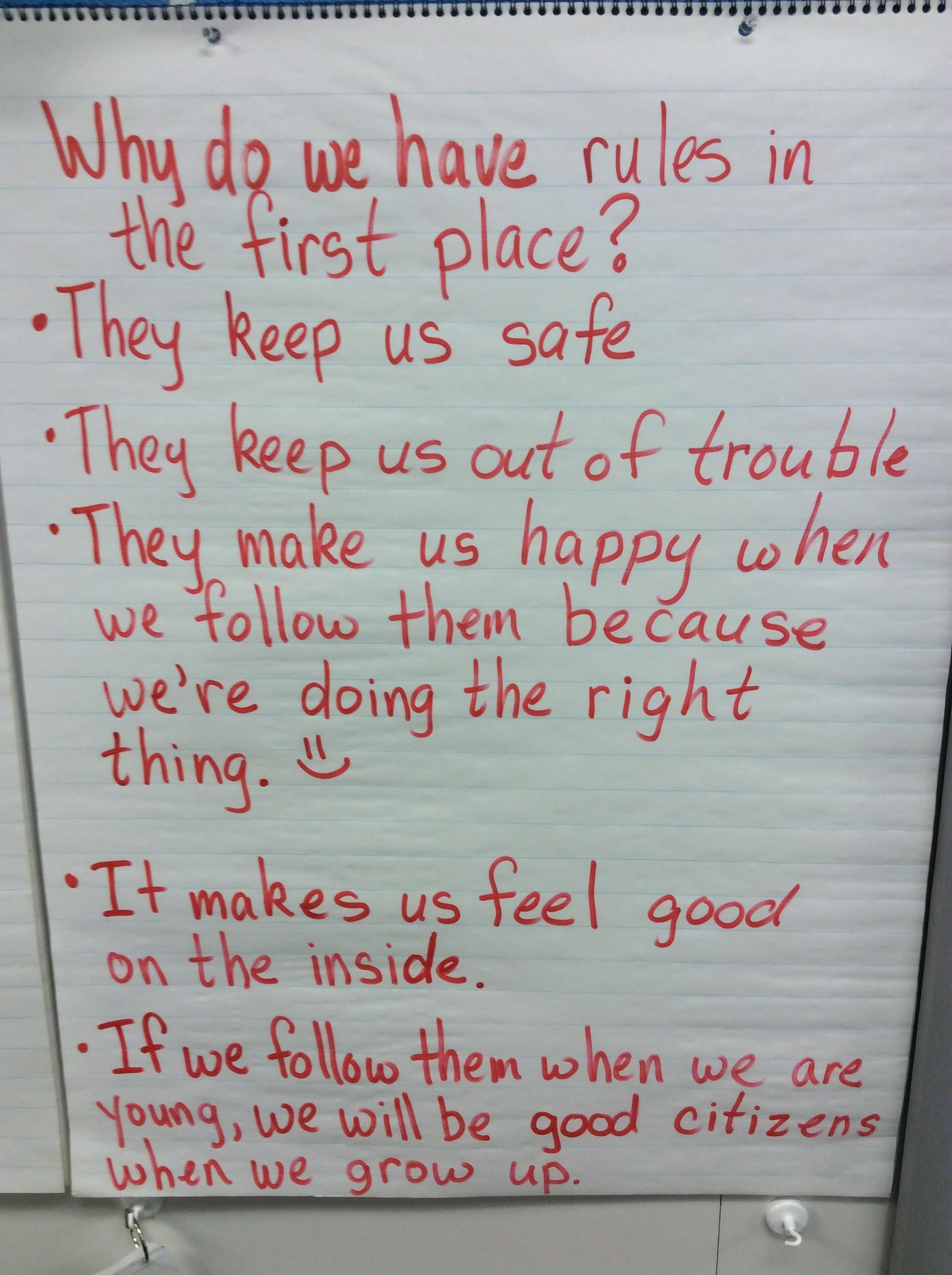 hight resolution of alan gieleghem s third graders work to discover the underlying meaning of the rules in their classroom in the chart below