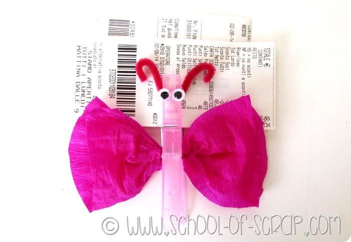 Lavoretti per bambini facciamo le farfalle fermacarte con le mollette  Alessia scrap  craft