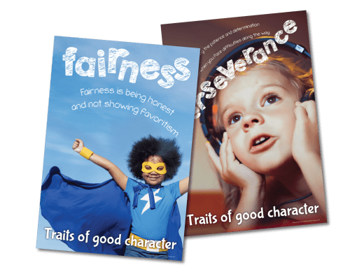 Education posters with the character qualities fairness and perseverance.
