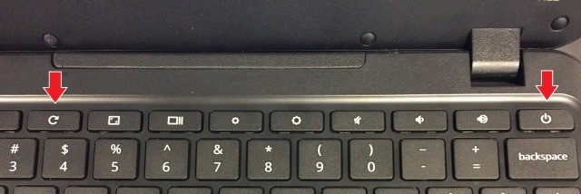 Reload button plus power button; Force Reboot; Force reset; Force power off Chromebook