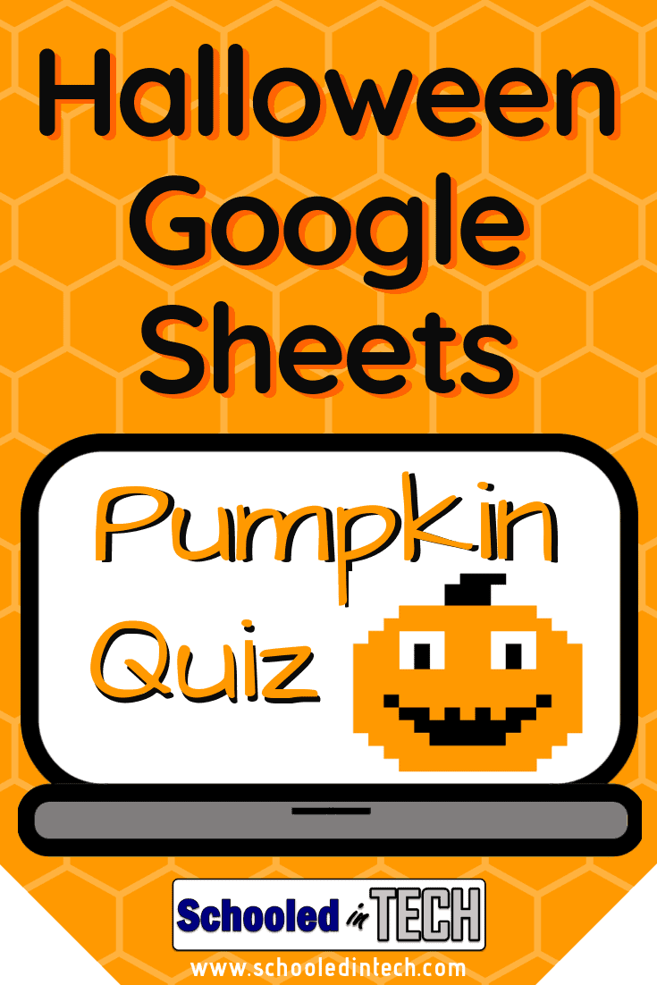 This Halloween Google Sheets pumpkin activity is perfect for your elementary students. Use this Google Sheet template in your lesson plan to give your students a review quiz. Students will make a pumpkin on the screen when they get the answers correct. This is a fun activity for kids. #halloween #gsuite #googleheets #edtech