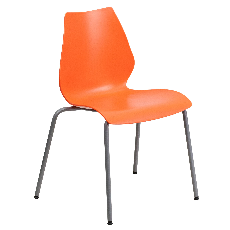 HERCULES Series 770 lb Capacity Orange Stack Chair with