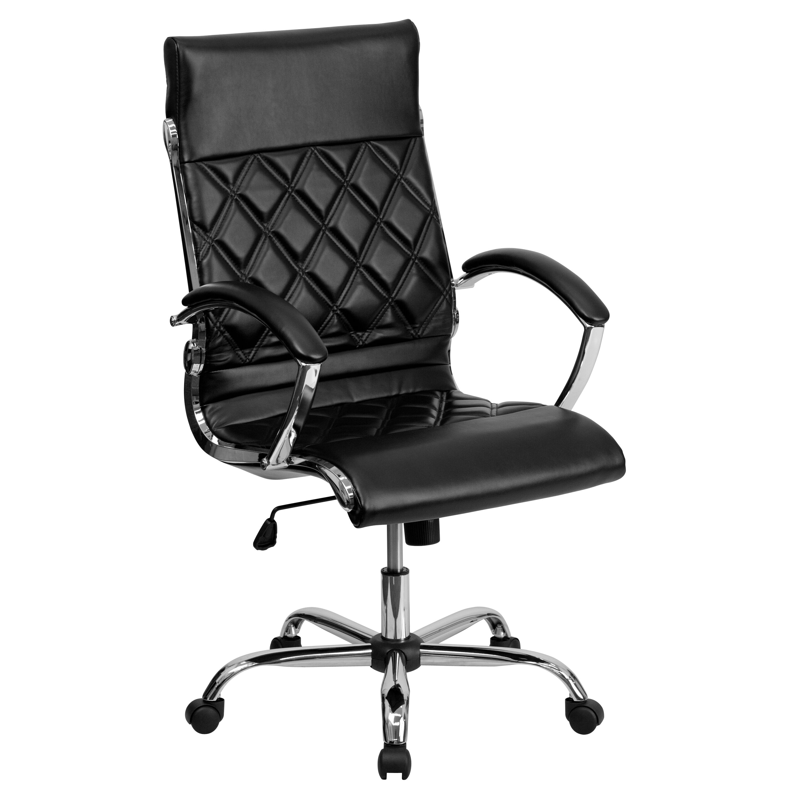 quilted swivel chair felt christmas covers black high back leather go 1297h bk gg our designer executive office with chrome base and arms