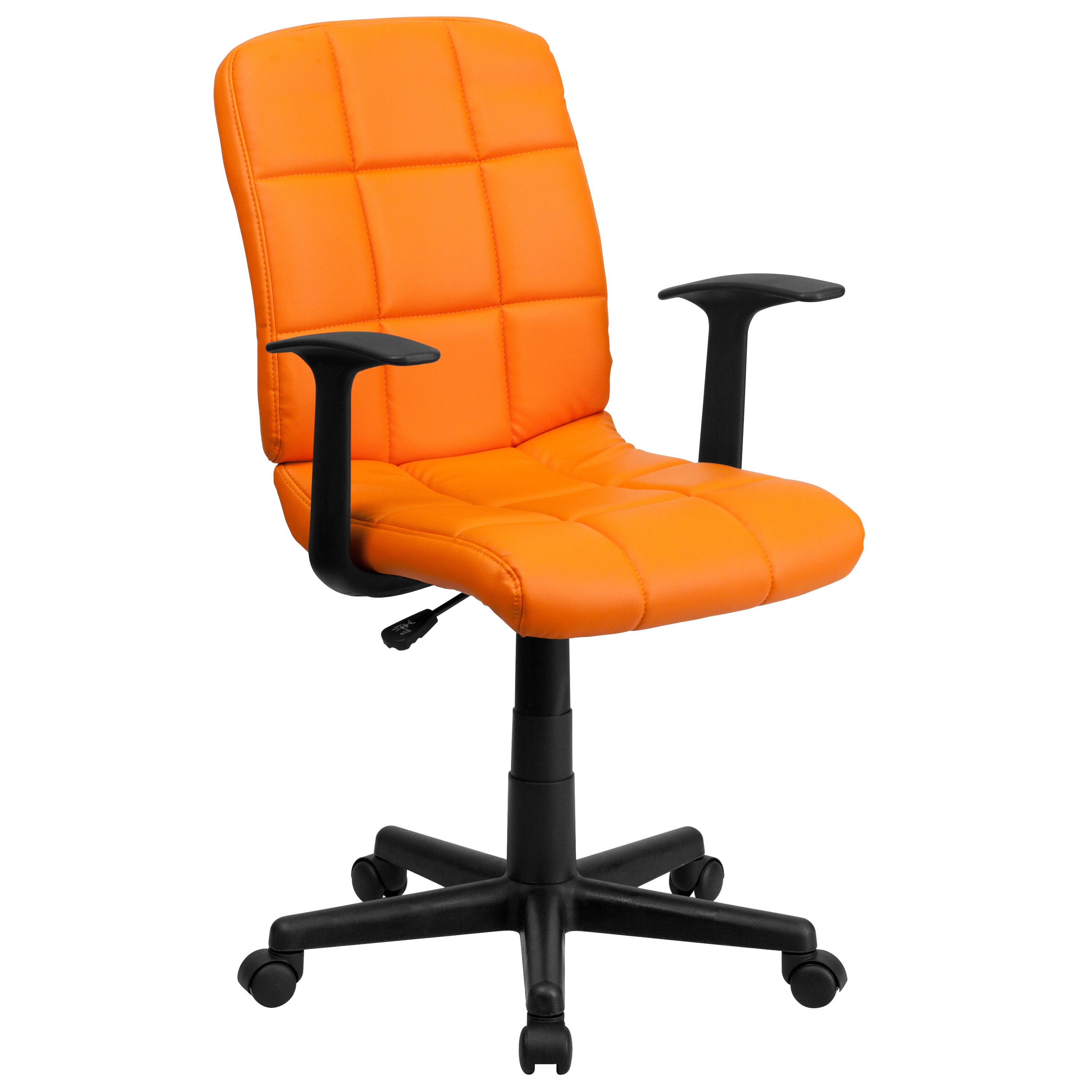 quilted swivel chair acapulco patio our mid back orange vinyl task office