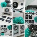 Turquoise black gray classroom theme and decor by schoolgirl style