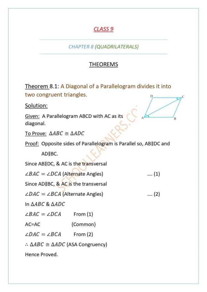 Class 9 Chapter 8 Theorem 8.1 A Diagonal of a parallelogram divides it into two congruent triangles