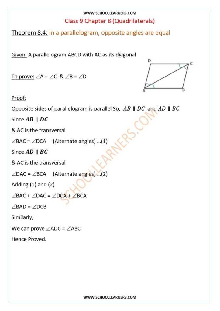 Class 9 Chapter 8 Theorem 8.4 In a parallelogram, opposite angles are equal.
