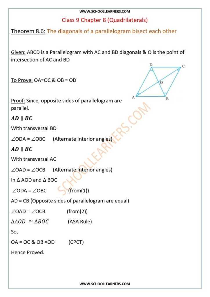 Class 9 Chapter 8 Theorem 8.6 The diagonals of a parallelogram bisect each other.