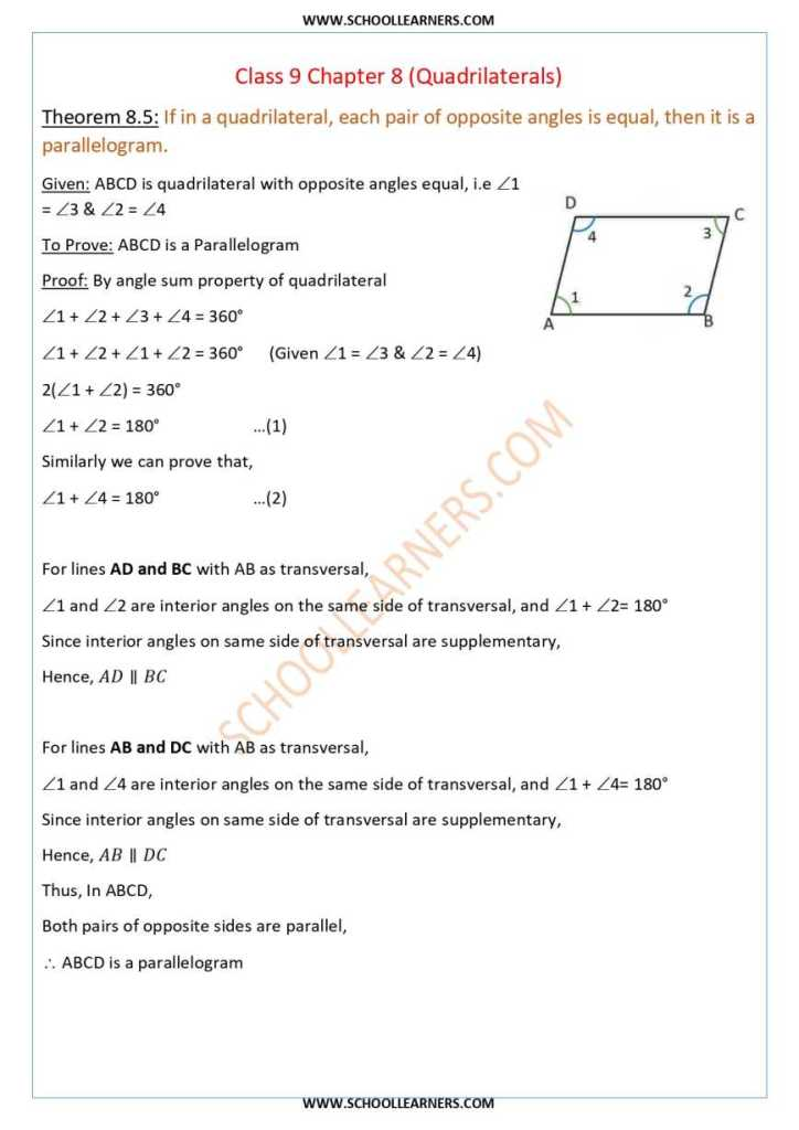 Class 9 Chapter 8 Theorem 8.5 If in a Quadrilateral, each pair of opposite angles is equal, then it is a parallelogram.