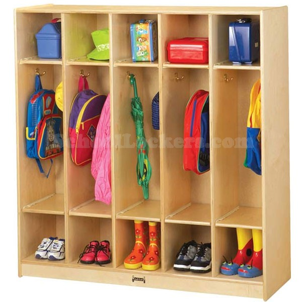 Open Kids Coat Locker Group with Double Cubbies