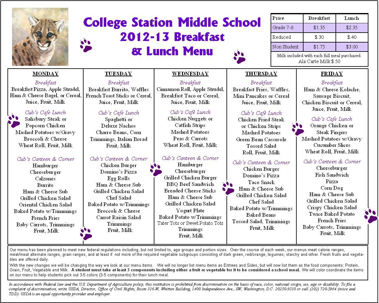 Lunch Menu Middle School