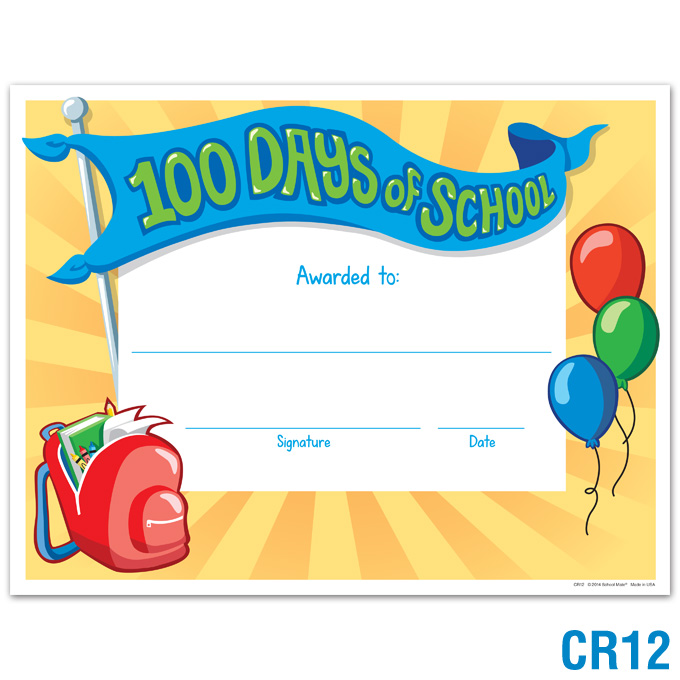 100th Day School Certificate Printable