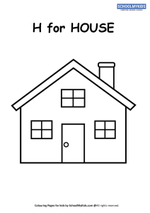 H for House Coloring Page Worksheets for Preschool