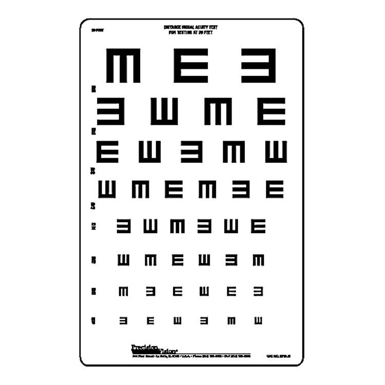20 ft: Illiterate Tumbling E (8 Line) Chart