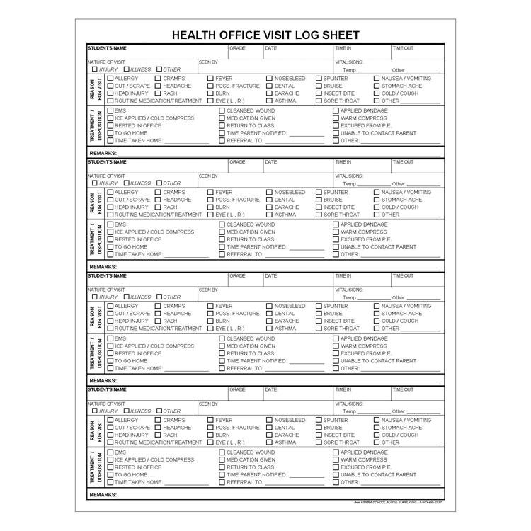 Health Office Log Sheets 50Pad