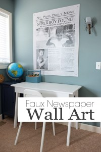 DIY Giant Faux Newspaper Wall Art