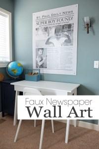 DIY Giant Faux Newspaper Wall Art
