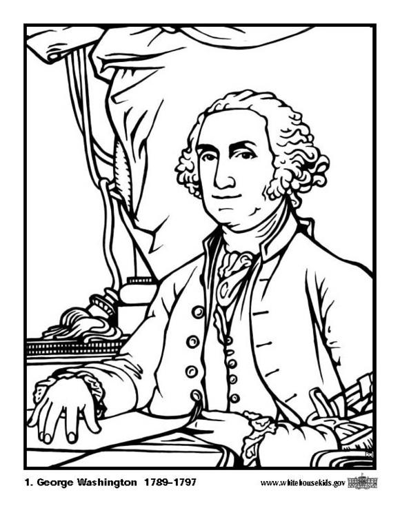 Kleurplaat 01 George Washington. Gratis kleurplaten om te