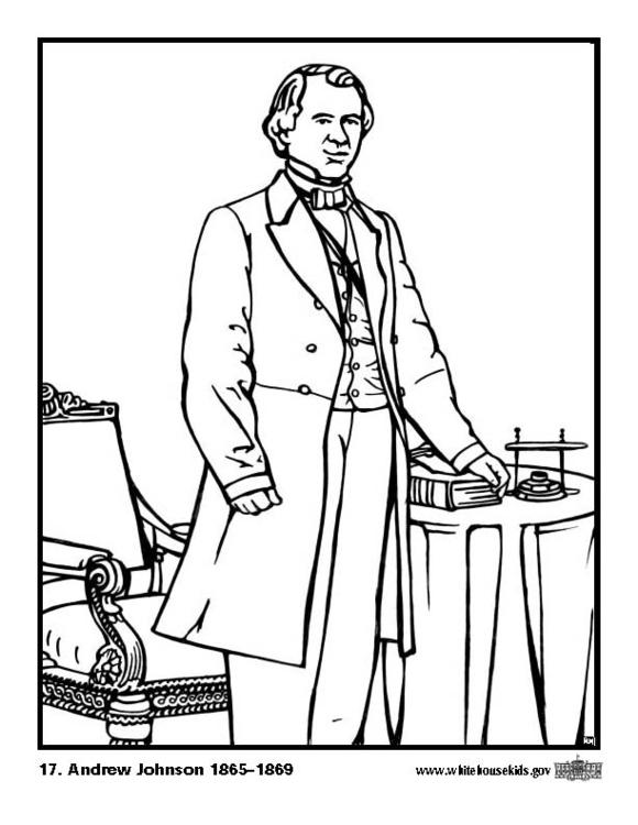 Kleurplaat 17 Andrew Johnson. Gratis kleurplaten om te