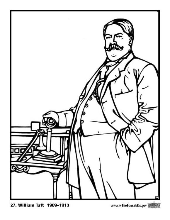 Kleurplaat 27 William Taft. Gratis kleurplaten om te printen.
