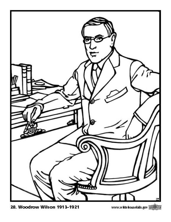 Kleurplaat 28 Woodrow Wilson. Gratis kleurplaten om te