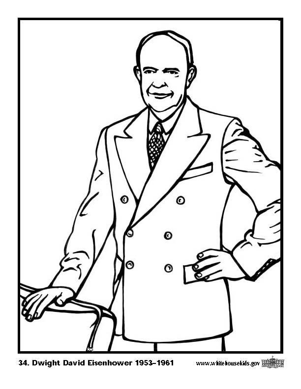 Kleurplaat 34 Dwight David Eisenhower. Gratis kleurplaten