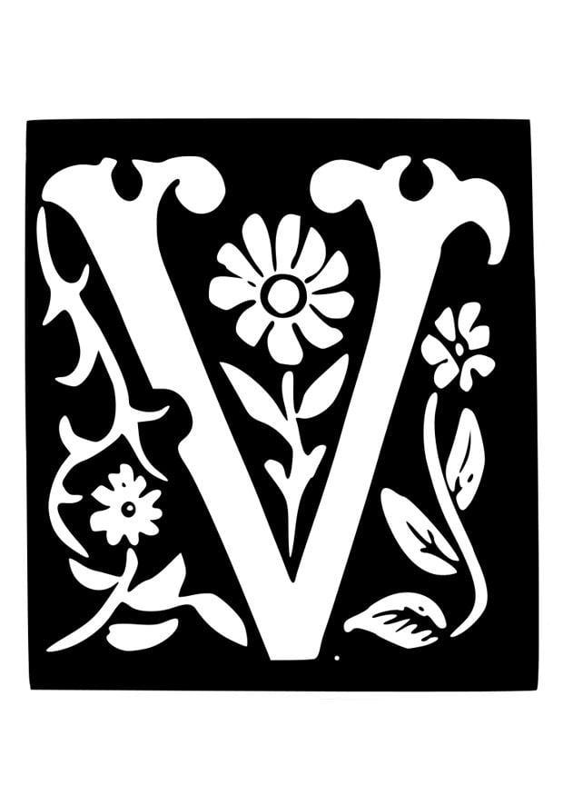 Kleurplaat Decoratieve Letter V Afb 19035