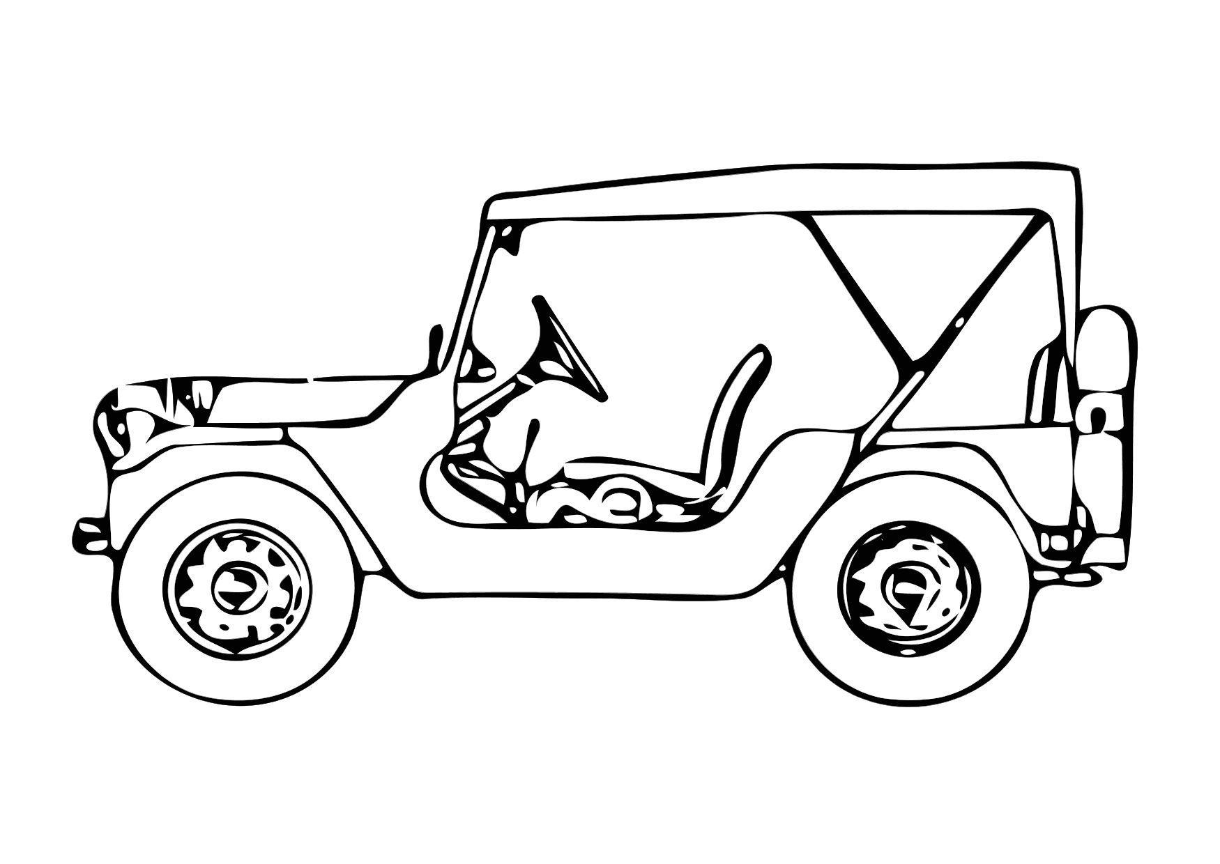Kleurplaat Jeep