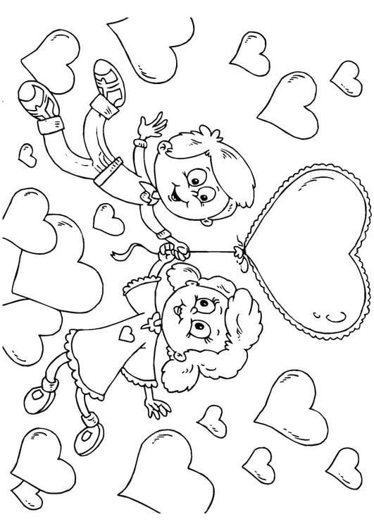 Kleurplaat Kinderen Valentijn Afb 24613