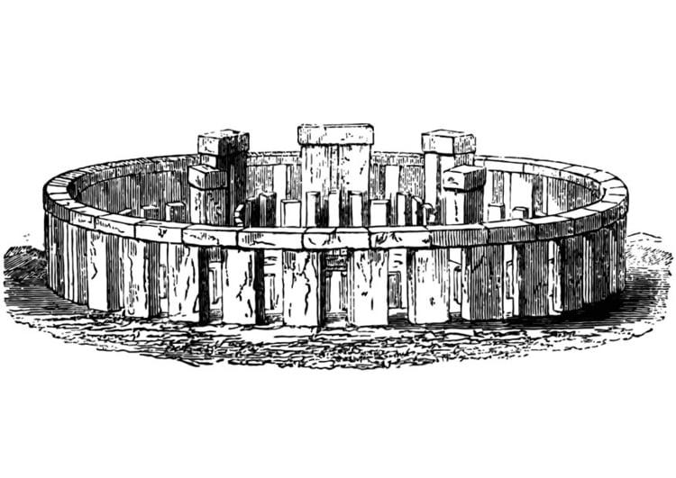 Kleurplaat stonehenge in herstelde staat