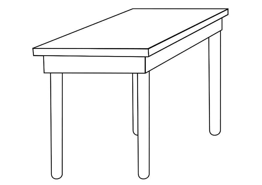 Kleurplaat tafel  Afb 19258