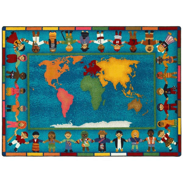 Hands Around The World Rug  Rectangle  10 9W x 13 2L