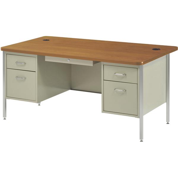 600 Series Classic Teacher Desk  Double Pedestal  60W x