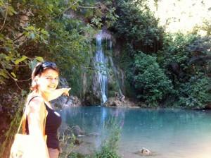 Mex en Milla bij waterval