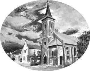 """Kurtschlager Dorfkirche und die Gaststätte """"Mittelpunkt der Erde"""", Zeichnung von Petra Elsner"""