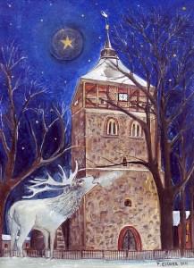 Immanuelkriche zu Groß Schönebeck, gezeichnet von Petra Elsner