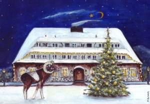 Weihnachtliches Hotell Döllnsee, Zeichnung: Petra Elsner