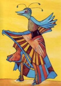 Die Muse - aus der Reihe Paradiesvögel, gezeichnet von Petra Elsner