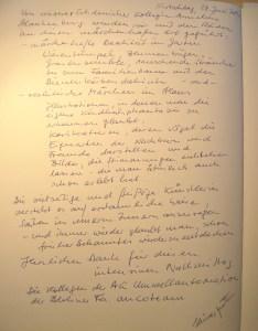 Eintrag ins Gästebuch vom 28. Juni 2014