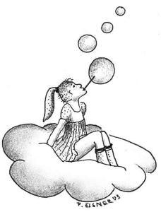 In den Wolken. Zeichnung von Petra Elsner