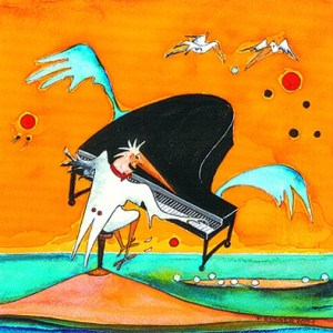 Träumecartoon: Klavier am Meer Zeichnung: Petra Elsner
