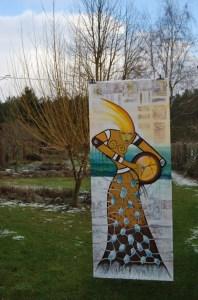 Bilderfahne:  Die große Schamanin (213 cm x 84 cm)  von Petra Elsner