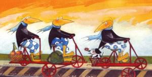 Einladungsmotiv von Petra Elsner:  Schräge Vögel auf Landpartie – Auf der Draisine