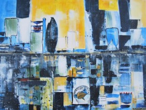 Petra Elsner, Wasserland 19, 60 x 80,  Acryl auf Leinwand, 2015