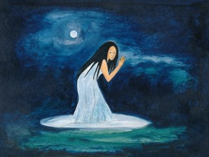 Die weiße Frau im Rehdanzbruch Zeichnung: Petra Elsner