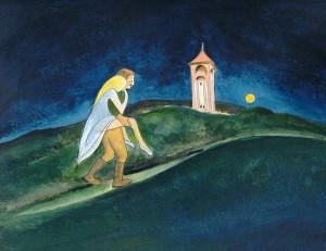Die verwunschene Prinzessin vom Schlossberg in Biesenthal. Zeichnung: Petra Elsner