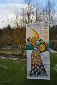 Die große Schamanin. Eine Bilderfahne aus 2015 von Petra Elsner