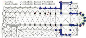 Grundriss mit Kartierung der Inschriften und Einzelbuchstaben in der ersten Bauphase der Klosterkirche. Kartierung: Stephanie Wagne