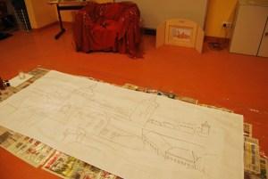 Die Stadt Bernau als Umriss hatte ich für das Schulprojekt aufgezeichnet.