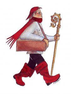 Der neue Nikolaus . Zeichnung: Petra Elsner